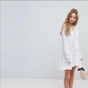 NWT surf gypsy white dress beautiful crochet S